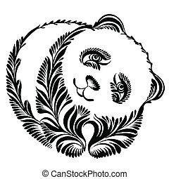 décoratif, silhouette, panda