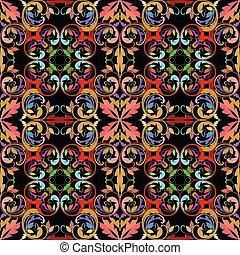 décoratif, style, damassé, vendange, pattern., seamless, vecteur, ethnique