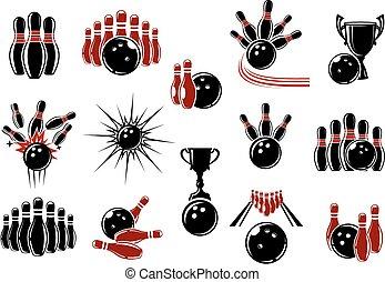 décoratif, symboles, bowling, éléments, équipement