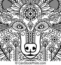 décoratif, tête, ours, ethnique