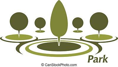 décoratif, taillé, aicon, parc, arbres