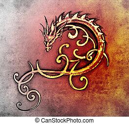 décoratif, tatouage, croquis, art, dragon