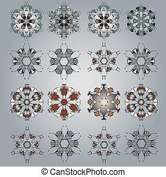 décoratif, tatouage, set., pattern., vecteur, cercle, mandala, rond