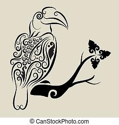 décoratif, toucan, ornement, oiseau