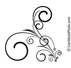 décoratif, tourbillon, forme, floral