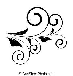 décoratif, tourbillon, forme, floral, retro