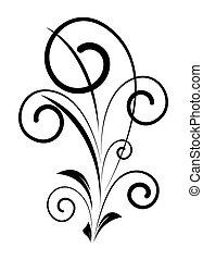 décoratif, tourbillon, forme, vieux, floral