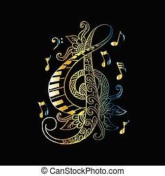 décoratif, triple, clef., illustration., main, vecteur, floral, dessin