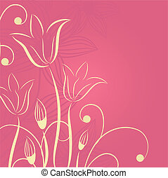 décoratif, tulipes, fleurs, fond