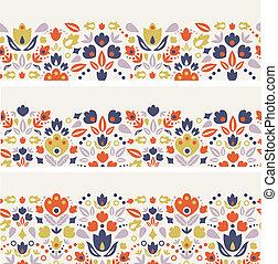 décoratif, tulipes, trois, seamless, motifs, horizontal, folklorique