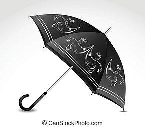 décoratif, umbrella., vecteur, noir