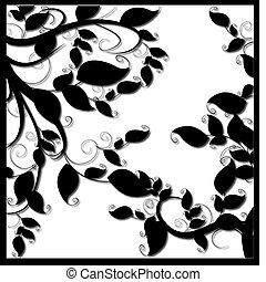 décoratif, vecteur, branche