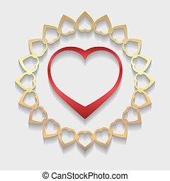 décoratif, vecteur, dentelle, coeur or, modèle, salutation, valentine, illustration, rond, invitation, cercle, formé, ornement, napperon, géométrique, mariage, shadow., rouges, card.