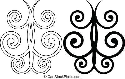 décoratif, vecteur, deux, butterflies.