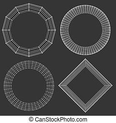 décoratif, vecteur, lattice., frame., poligonal., résumé, maille, grille, polygons., moléculaire, structural