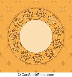 décoratif, vecteur, ornement, beige, carte