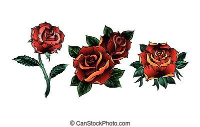 décoratif, vecteur, roses rouges, feuilles, pétale, ensemble, soufflé