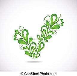 décoratif, vecteur, vert, checkmark.