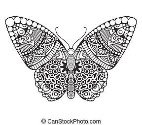 décoratif, vendange, éléments, butterfly.