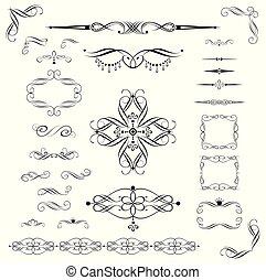 décoratif, vendange, éléments, conception
