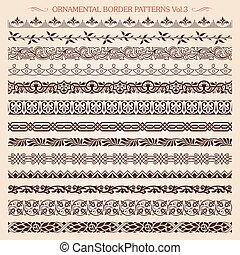 décoratif, vendange, cadre, motifs, 3, vecteur, ligne, frontière
