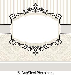 décoratif, vendange, cadre