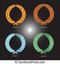 décoratif, vendange, ensemble, coloré, symboles
