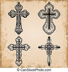 décoratif, vendange, ensemble, religieux, croix