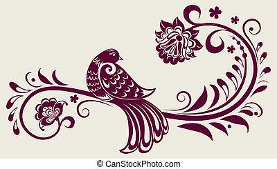 décoratif, vendange, floral, oiseau, fond