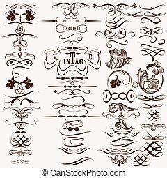 décoratif, vendange, flourishes, collection, calligraphic