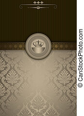 décoratif, vendange, fond, frame., or