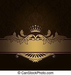 décoratif, vendange, fond, or, border.