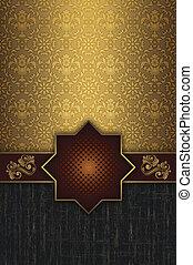 décoratif, vendange, patterns., fond, or