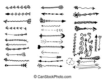 décoratif, vendange, set., designer's, flèches, valise, page