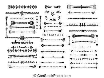 décoratif, vendange, set., designer's, valise, main, frontières, dessiné