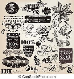 décoratif, vendange, vecteur, ensemble