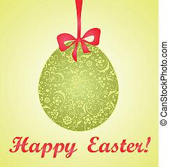 décoratif, vert, oeuf de pâques, carte