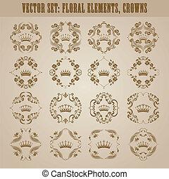 décoratif, victorien, couronne, elements.
