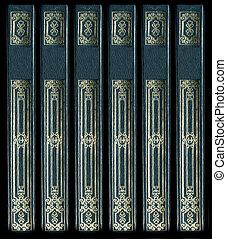 décoratif, vieux, or, cuir, vendange, colonnes vertébrales,...