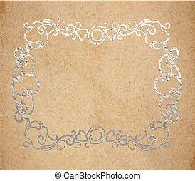 décoratif, vieux, vendange, cadre, encre, texture, papier, orné, argent