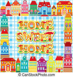 décoratif, ville, coloré, doux, cadre, houses., arrière-plan., home., maison
