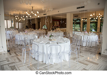 décoration, élégant, mariage, luxe, table