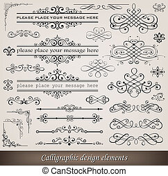 décoration, éléments, page, calligraphic