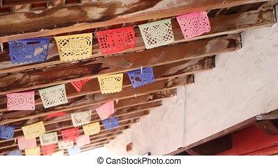 décoration, amérique, papel, folklorique, papier, picado, festival, coloré, coloré, bannière, multi, latin, drapeaux, vacances, mexicain, perforé, garland., hispanique, tissu, carnival., coloré, authentique, ou, fête, découpé