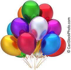 décoration, anniversaire, ballons, heureux