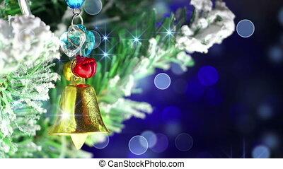 décoration, arbre, noël, cloche