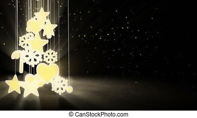 décoration, arbre, noël, or, boucle