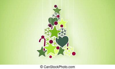 décoration, arbre vert, noël, rouges