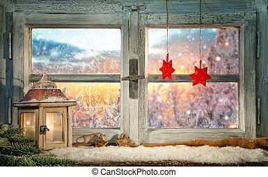 décoration, atmosphérique, rebord fenêtre, noël