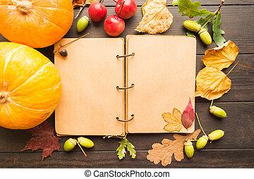 décoration, automne, livre, ouvert, vide